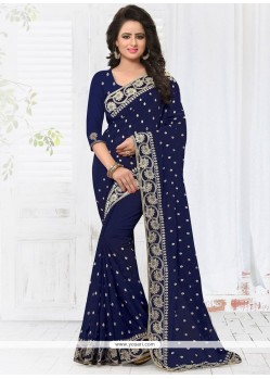 Imposing Faux Georgette Navy Blue Classic Designer Saree