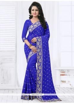 Piquant Faux Georgette Blue Saree