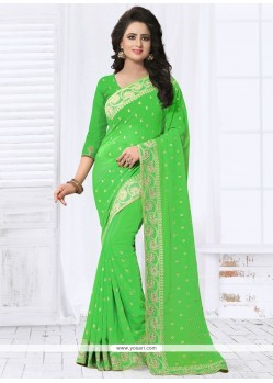 Beckoning Faux Georgette Green Classic Designer Saree