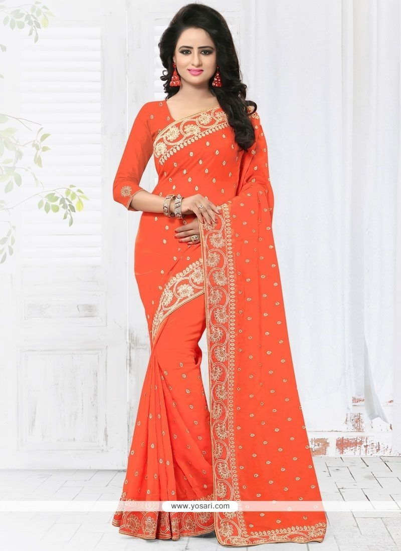 Sorcerous Embroidered Work Faux Georgette Classic Saree