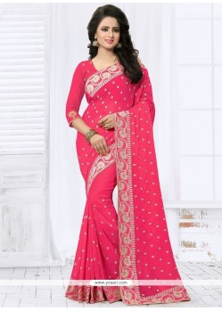 Breathtaking Patch Border Work Faux Georgette Classic Designer Saree