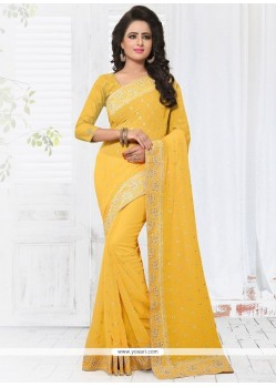 Perfervid Yellow Classic Designer Saree