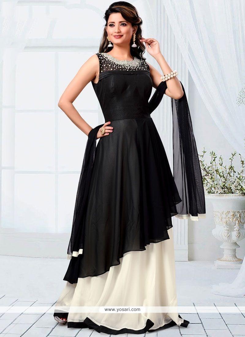 Innovative Art Dupion Silk Black Diamond Work Readymade Designer Suit
