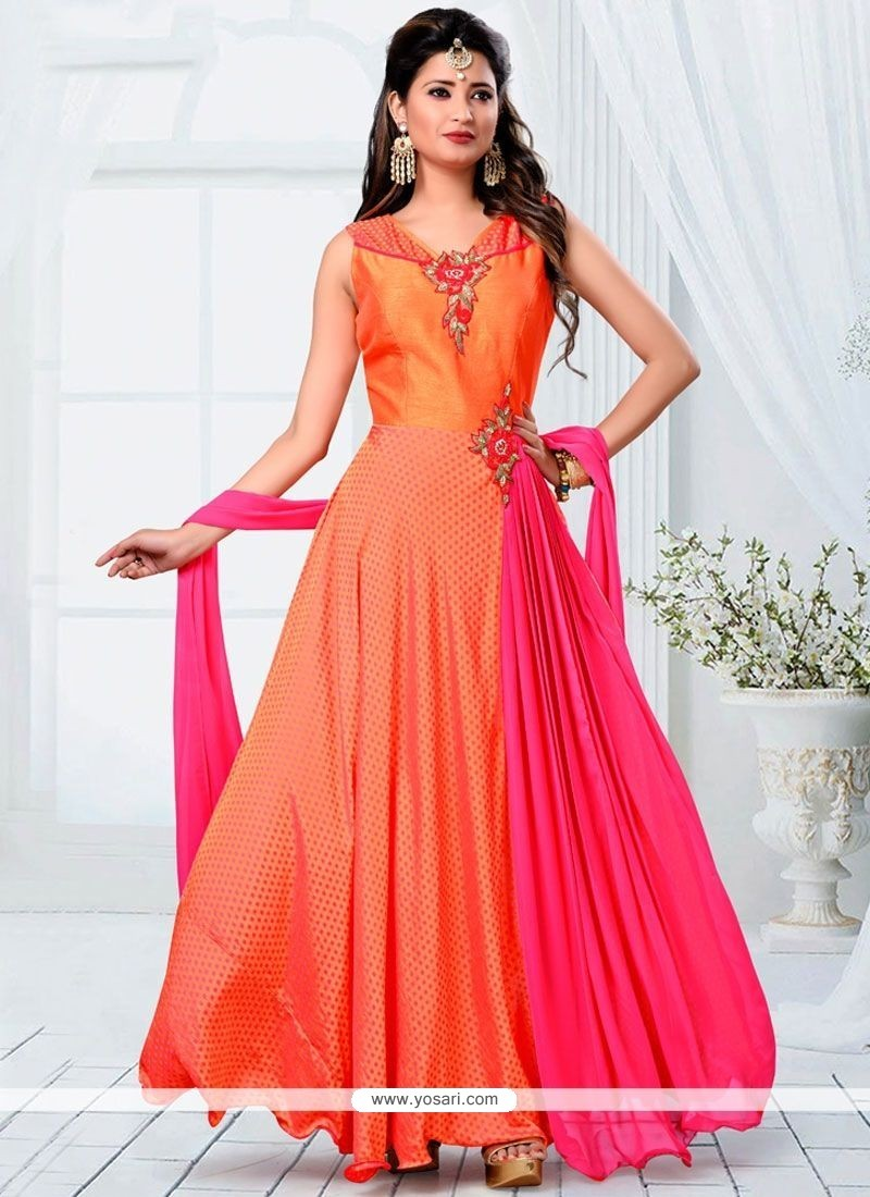 Alluring Banarasi Silk Orange And Pink Readymade Designer Suit