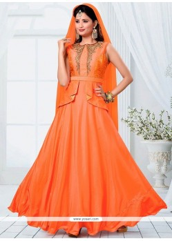 Orange Brocade Readymade Designer Suit