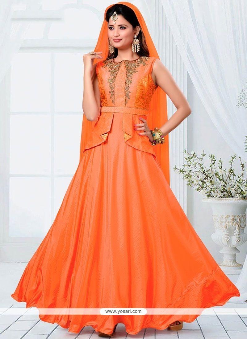 Orange Brocade Readymade Designer Suit