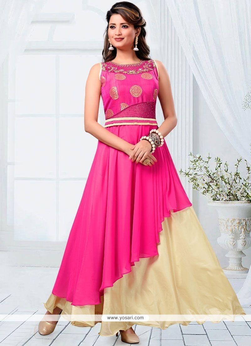 Intricate Pink Zari Work Faux Georgette Readymade Designer Suit