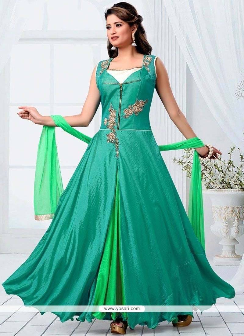 Exotic Diamond Work Green Readymade Designer Suit
