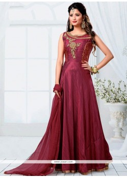 Beauteous Maroon Readymade Designer Suit
