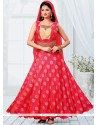 Enticing Brocade Red Embroidered Work Readymade Designer Suit