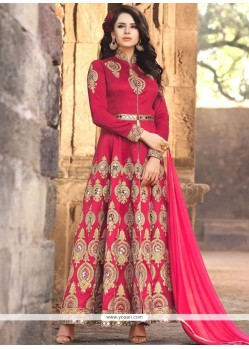 Dashing Banarasi Silk Zari Work Floor Length Anarkali Suit