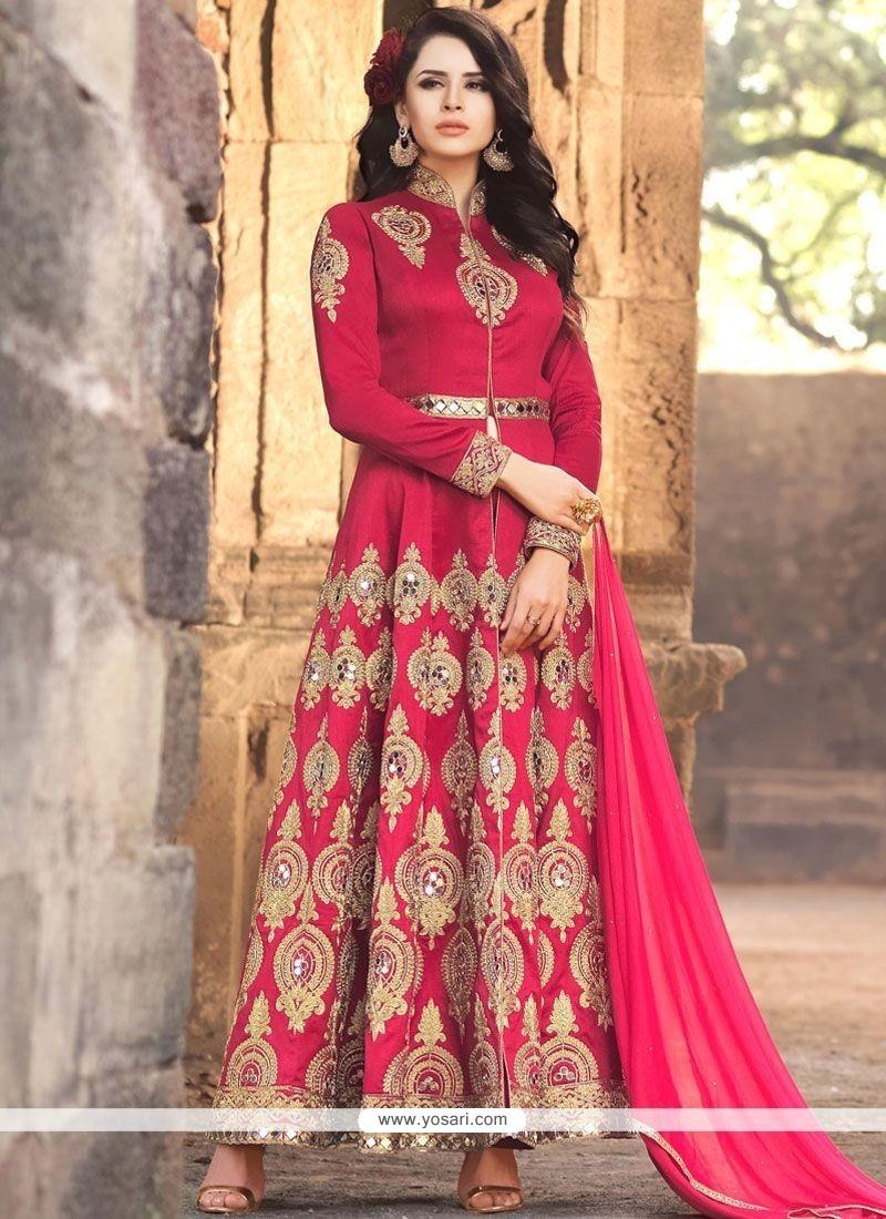 Dashing Banarasi Silk Zari Work Floor Length Anarkali Suit