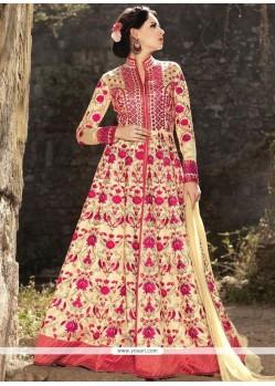 Auspicious Resham Work Art Silk Cream Floor Length Anarkali Suit