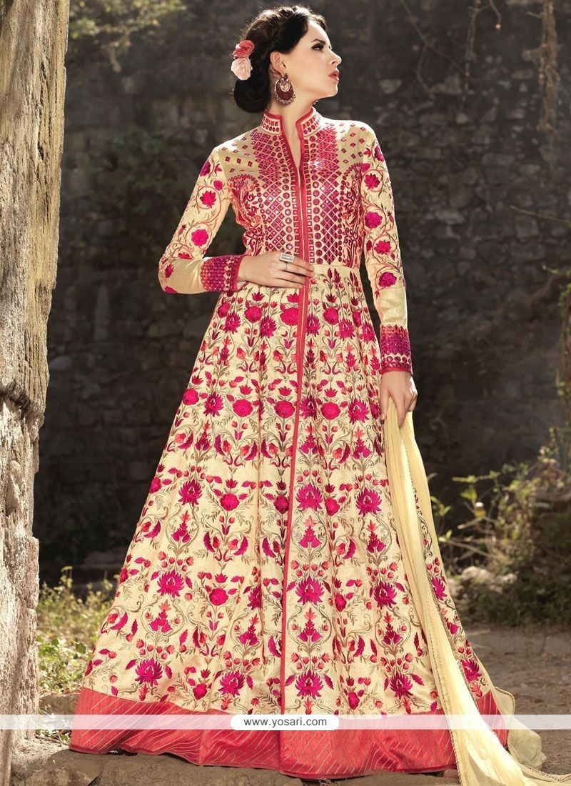 Auspicious Resham Work Art Silk Cream Floor Length Anarkali Suit