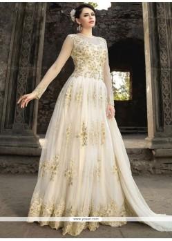 Mystic Net White Resham Work Floor Length Anarkali Suit