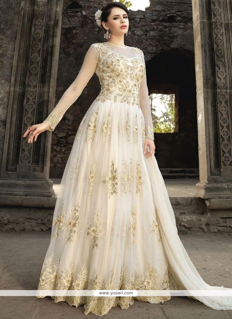d9df607b93 Buy Mystic Net White Resham Work Floor Length Anarkali Suit ...