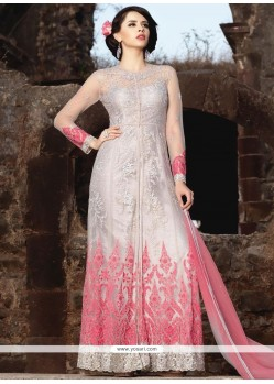 Refreshing Net Embroidered Work Floor Length Anarkali Suit