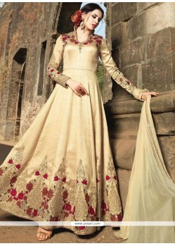Striking Banarasi Silk Zari Work Floor Length Anarkali Suit