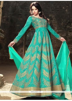 Distinguishable Resham Work Art Silk Floor Length Anarkali Suit