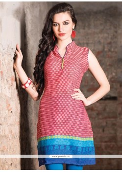 Glowing Cotton Print Work Casual Kurti