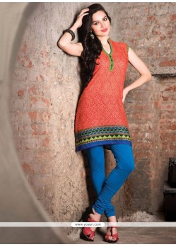 Flawless Cotton Orange Casual Kurti