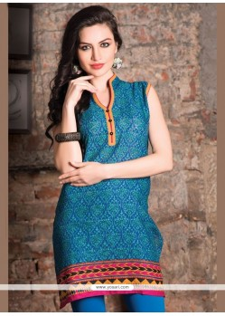 Energetic Print Work Cotton Casual Kurti
