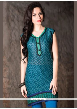 Riveting Print Work Teal Casual Kurti