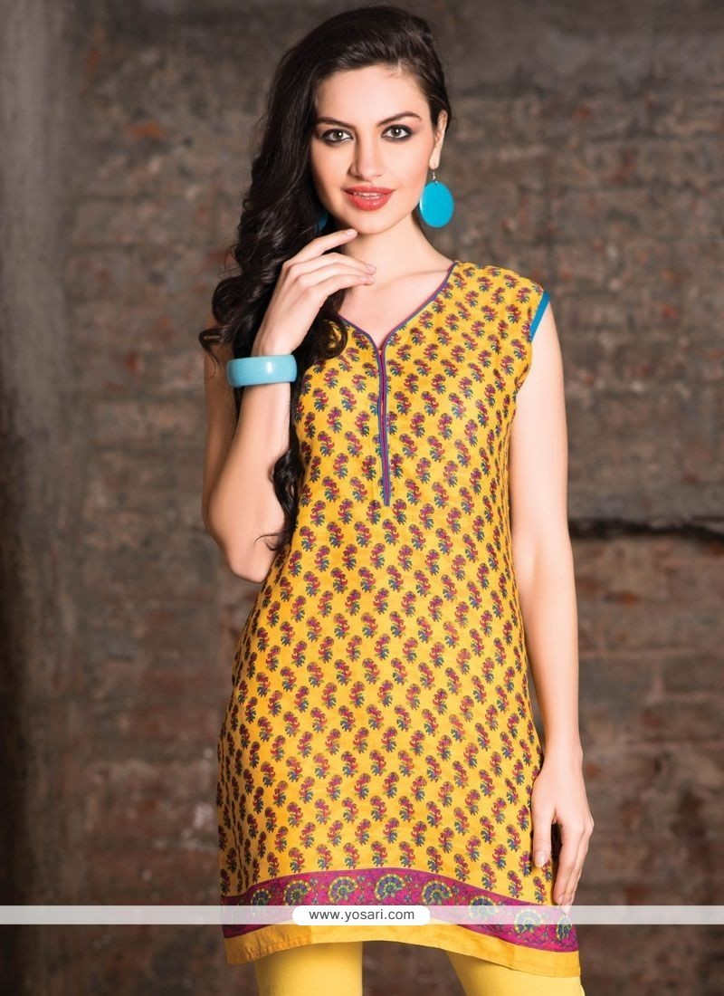 Especial Print Work Cotton Yellow Casual Kurti