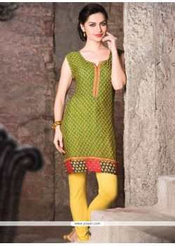 Majestic Print Work Green Casual Kurti