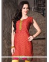 Glossy Print Work Cotton Casual Kurti