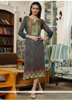 Fine Satin Multi Colour Party Wear Kurti