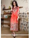 Monumental Digital Print Work Multi Colour Silk Party Wear Kurti