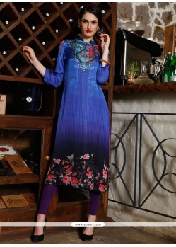 Digital Print Satin Party Wear Kurti In Multi Colour