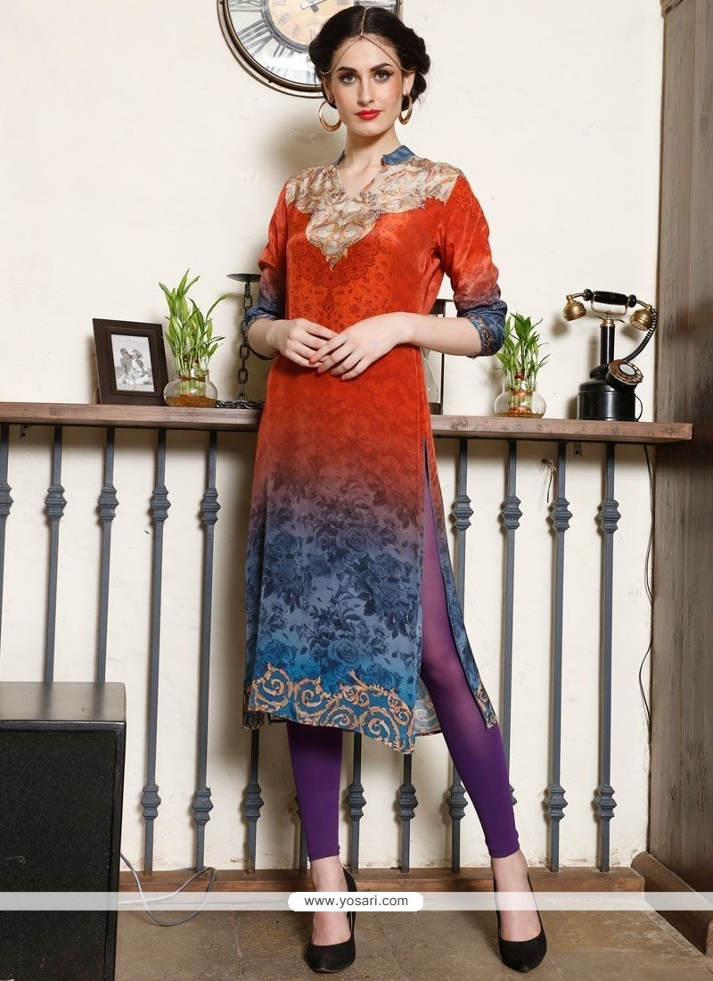 Gripping Multi Colour Digital Print Work Party Wear Kurti