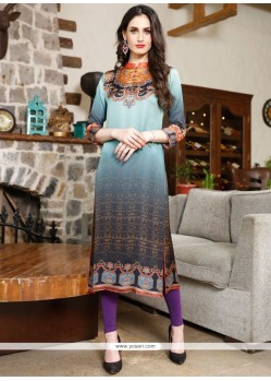 Charismatic Satin Multi Colour Digital Print Work Party Wear Kurti