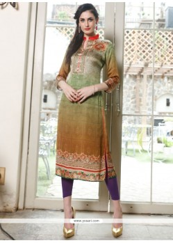 Snazzy Digital Print Work Multi Colour Satin Party Wear Kurti