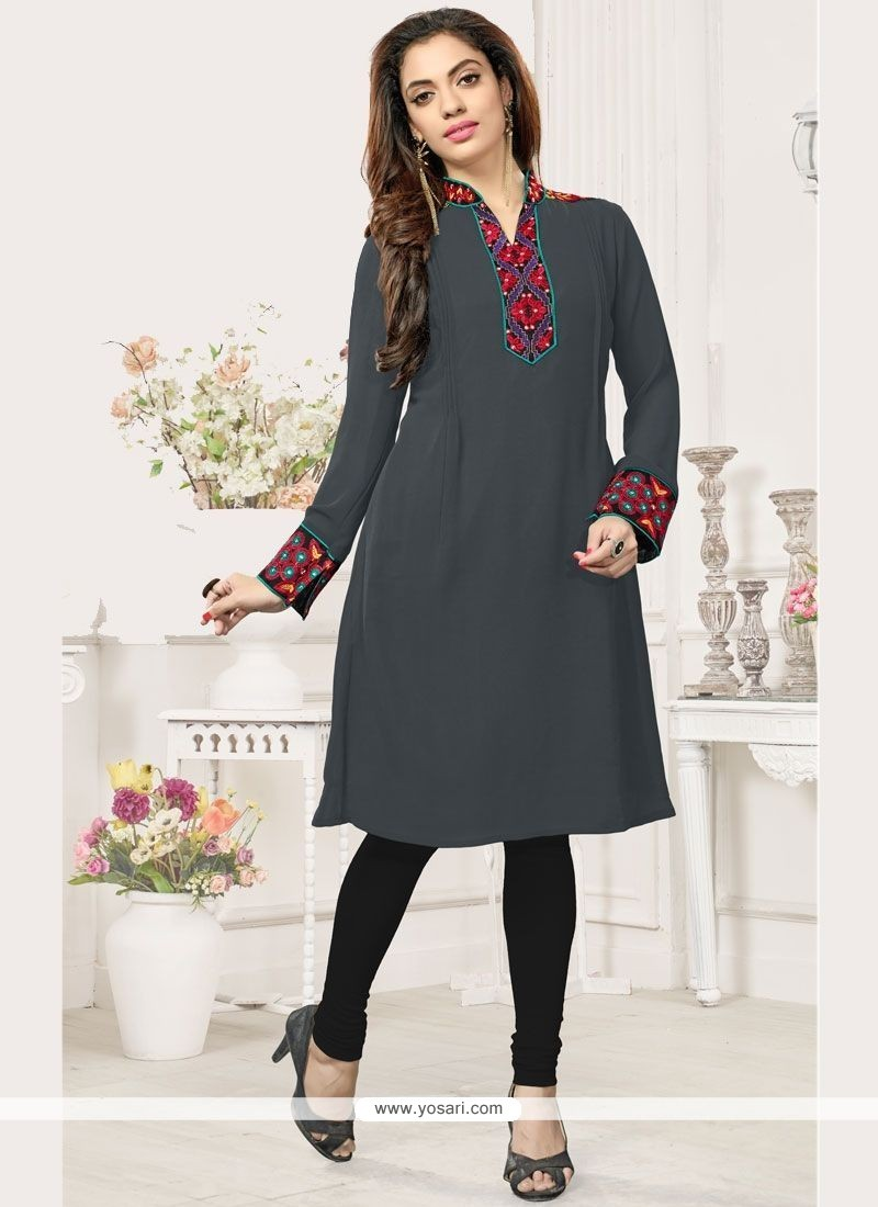 Embroidered Faux Georgette Party Wear Kurti In Grey