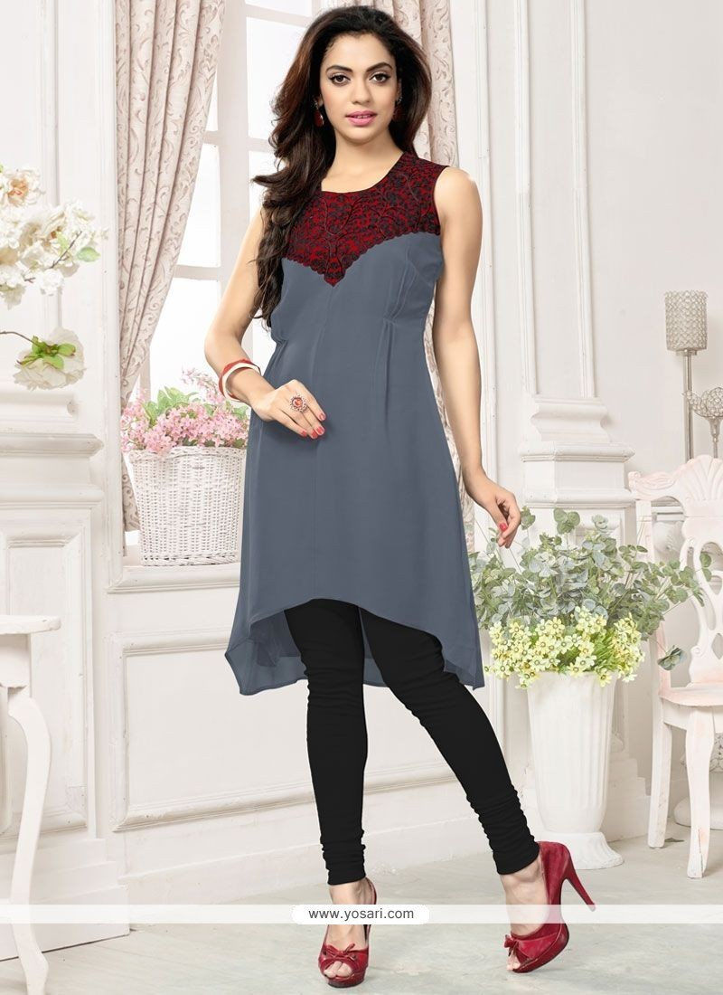 Classy Embroidered Work Faux Georgette Party Wear Kurti
