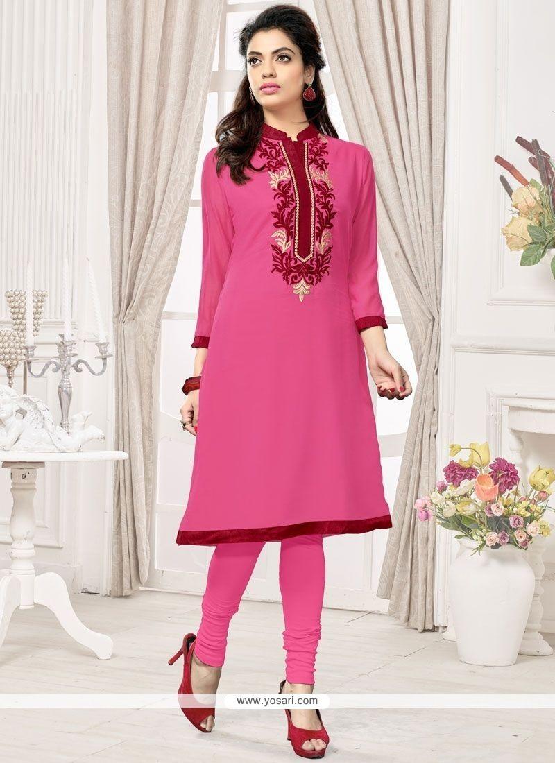 Pink Faux Georgette Party Wear Kurti