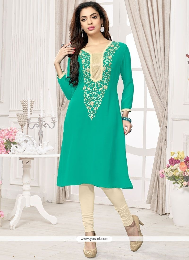 Renowned Embroidered Work Faux Georgette Sea Green Party Wear Kurti