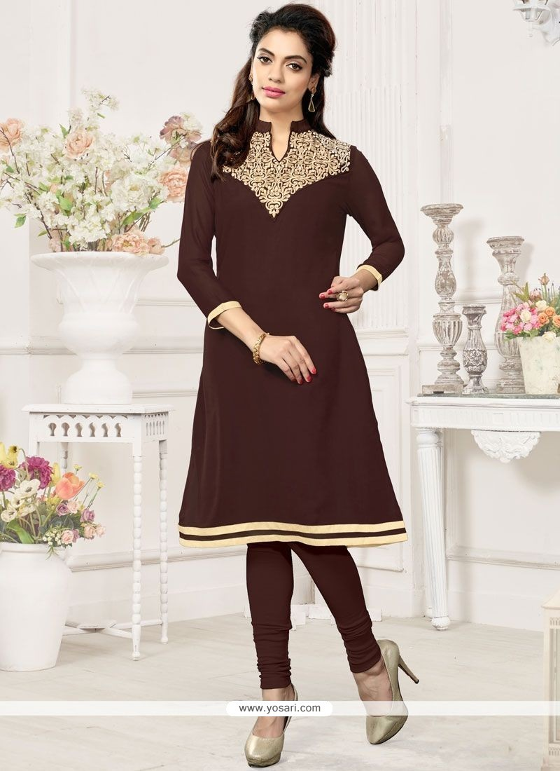 Beckoning Brown Embroidered Work Faux Georgette Party Wear Kurti