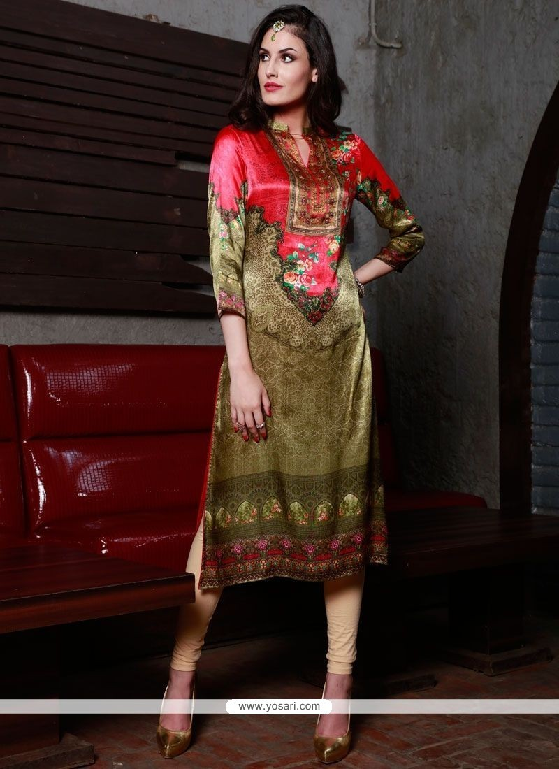 Titillating Digital Print Work Multi Colour Silk Party Wear Kurti