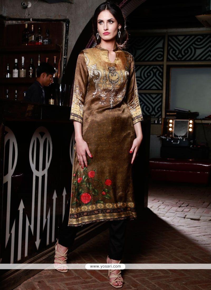 Digital Print Silk Party Wear Kurti In Multi Colour