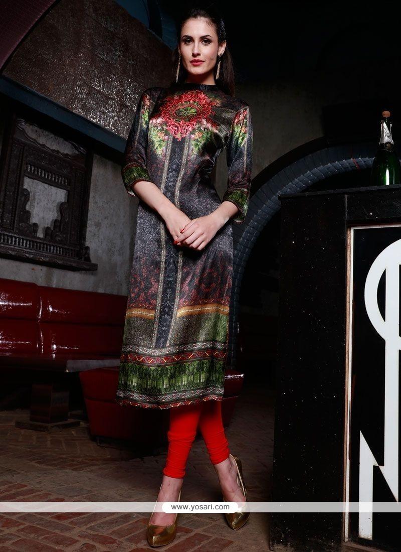 Radiant Silk Digital Print Work Party Wear Kurti
