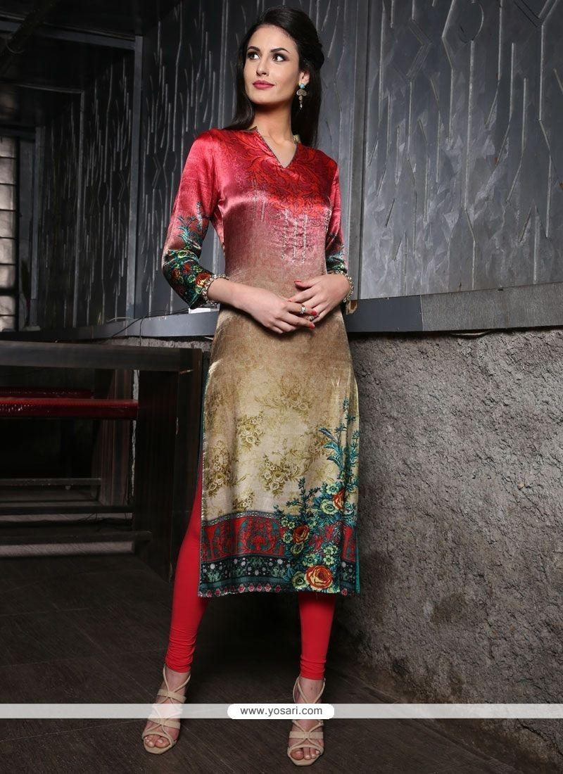 Dashing Multi Colour Party Wear Kurti