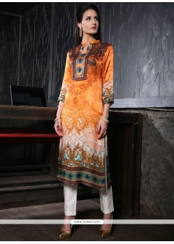 Multi Colour Satin Party Wear Kurti