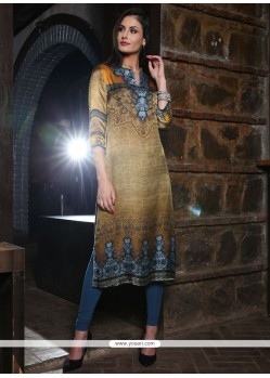 Flattering Digital Print Work Multi Colour Silk Party Wear Kurti
