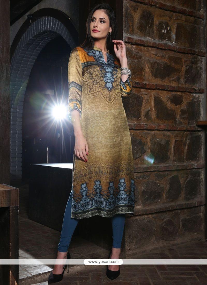 Flattering Digital Print Work Multi Colour Silk Party Wear Kurti