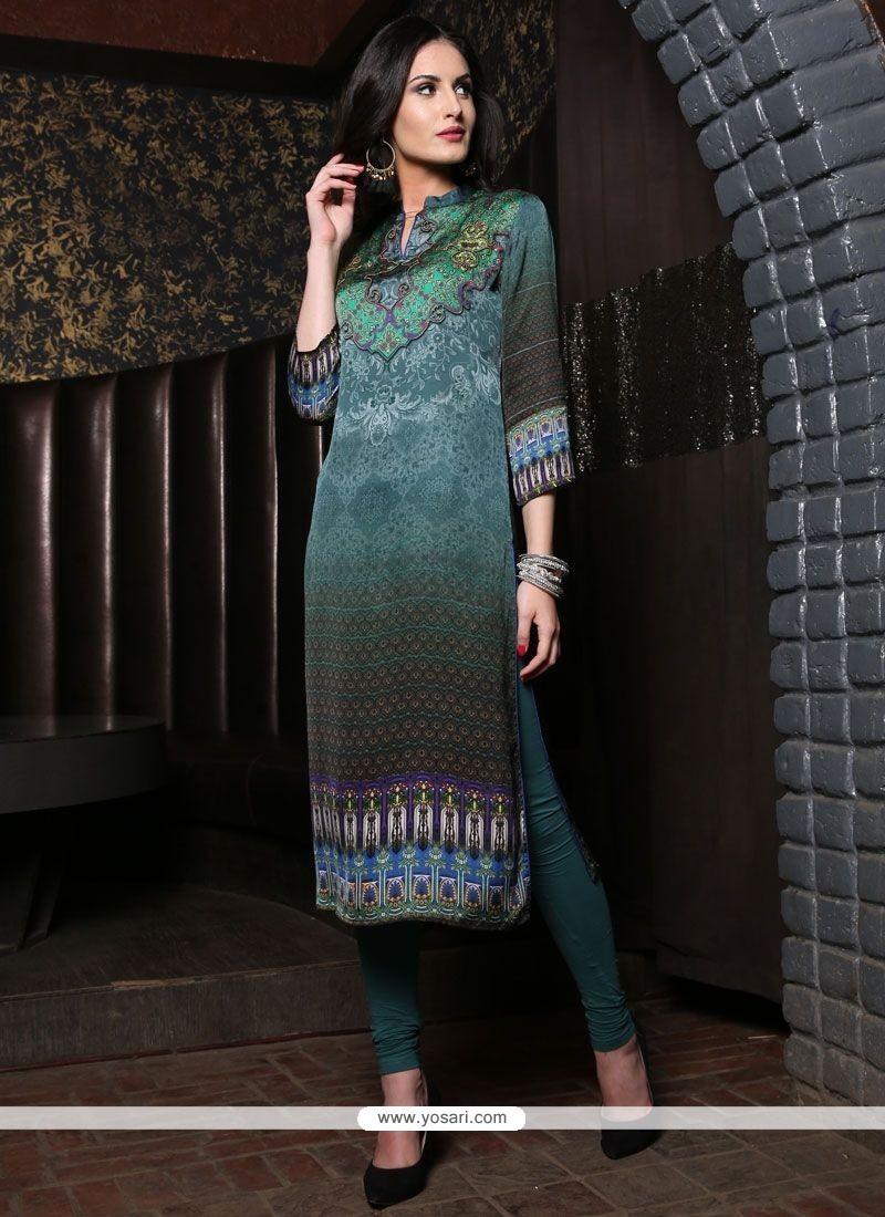 Stylish Multi Colour Digital Print Work Satin Party Wear Kurti
