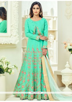 Krystle Dsouza Sea Green Floor Length Anarkali Suit